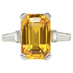 GIA Certified 4 Carat Emerald Cut Yellow Sapphire Solitaire Ring