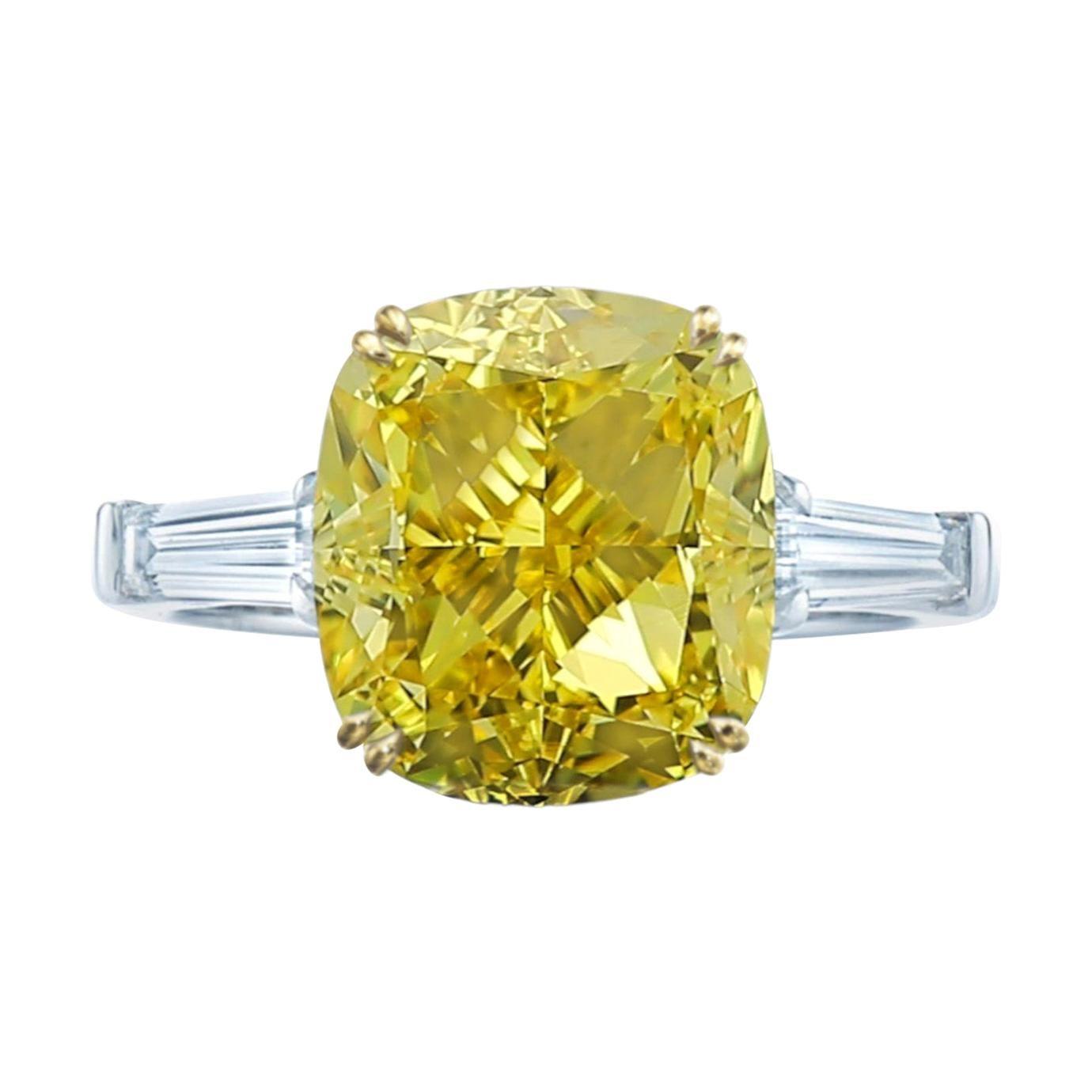 GIA Certified 4 Carat Fancy Intense Yellow Cushion Diamond Platinum Ring