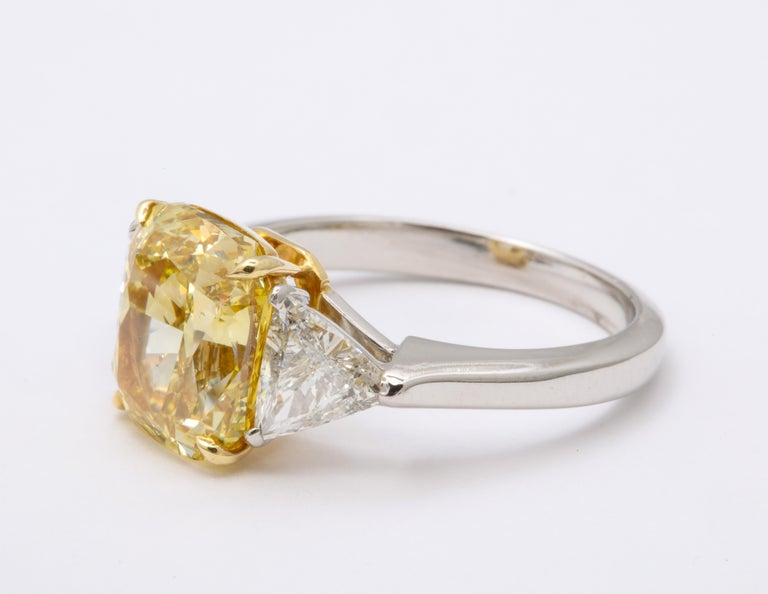 Cushion Cut GIA Certified 4 Carat Fancy Intense Yellow Diamond Ring For Sale