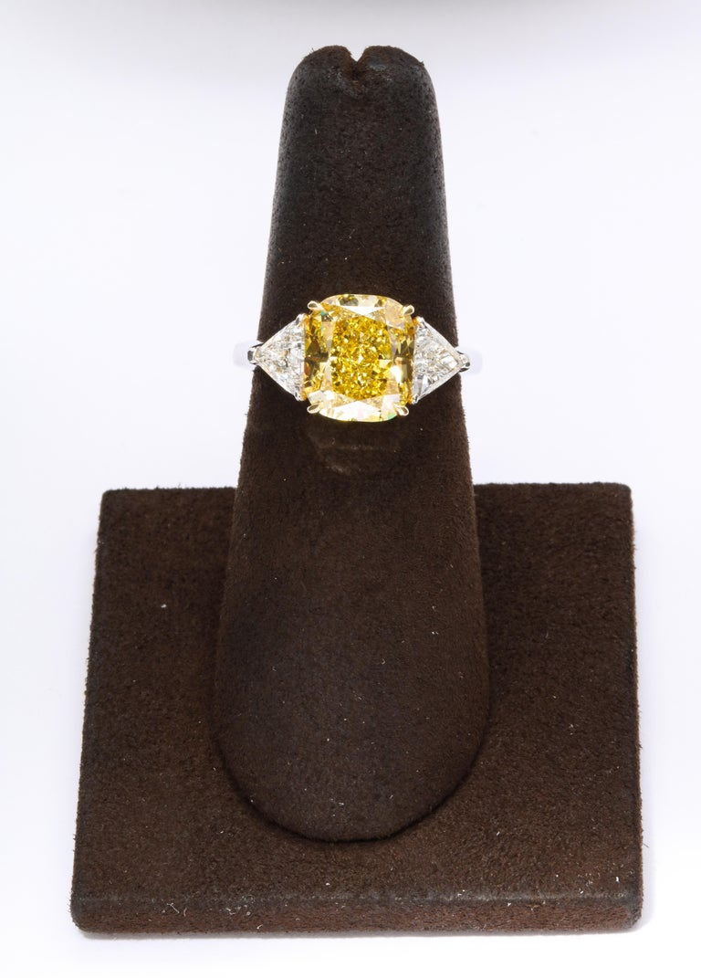 GIA Certified 4 Carat Fancy Intense Yellow Diamond Ring For Sale 1