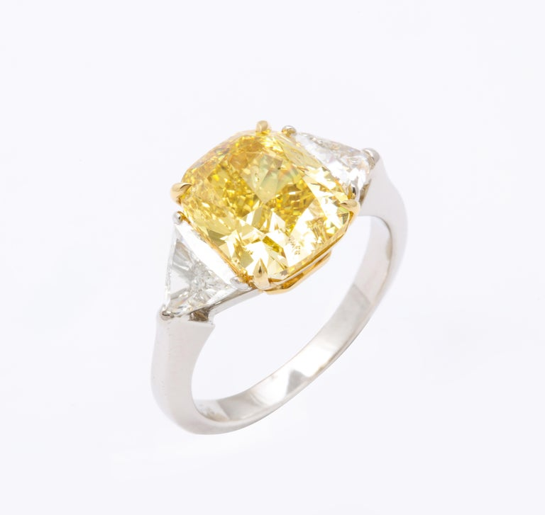 GIA Certified 4 Carat Fancy Intense Yellow Diamond Ring For Sale 2