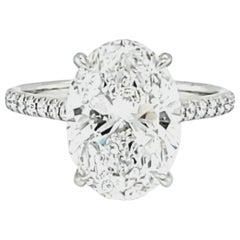 GIA Certified 4 Carat Oval Cut Diamond Ring
