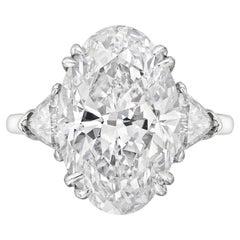 GIA Certified 4 Carat Oval Diamond Ring