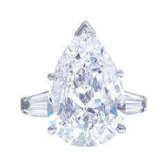 GIA Certified 4 Carat Pear Cut Baguette Platinum Ring E Color VVS2 Clarity