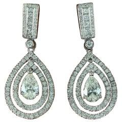 GIA Certified 4 Carat Pear Round Princess Diamond Drop Dangle Earrings