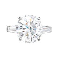 GIA Certified 3 Carat Round Brilliant Cut Diamond Platinum Ring
