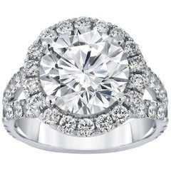GIA Certified 4 Carat Round Brilliant Cut Diamond Ring Shank Pave VVS2 J Color