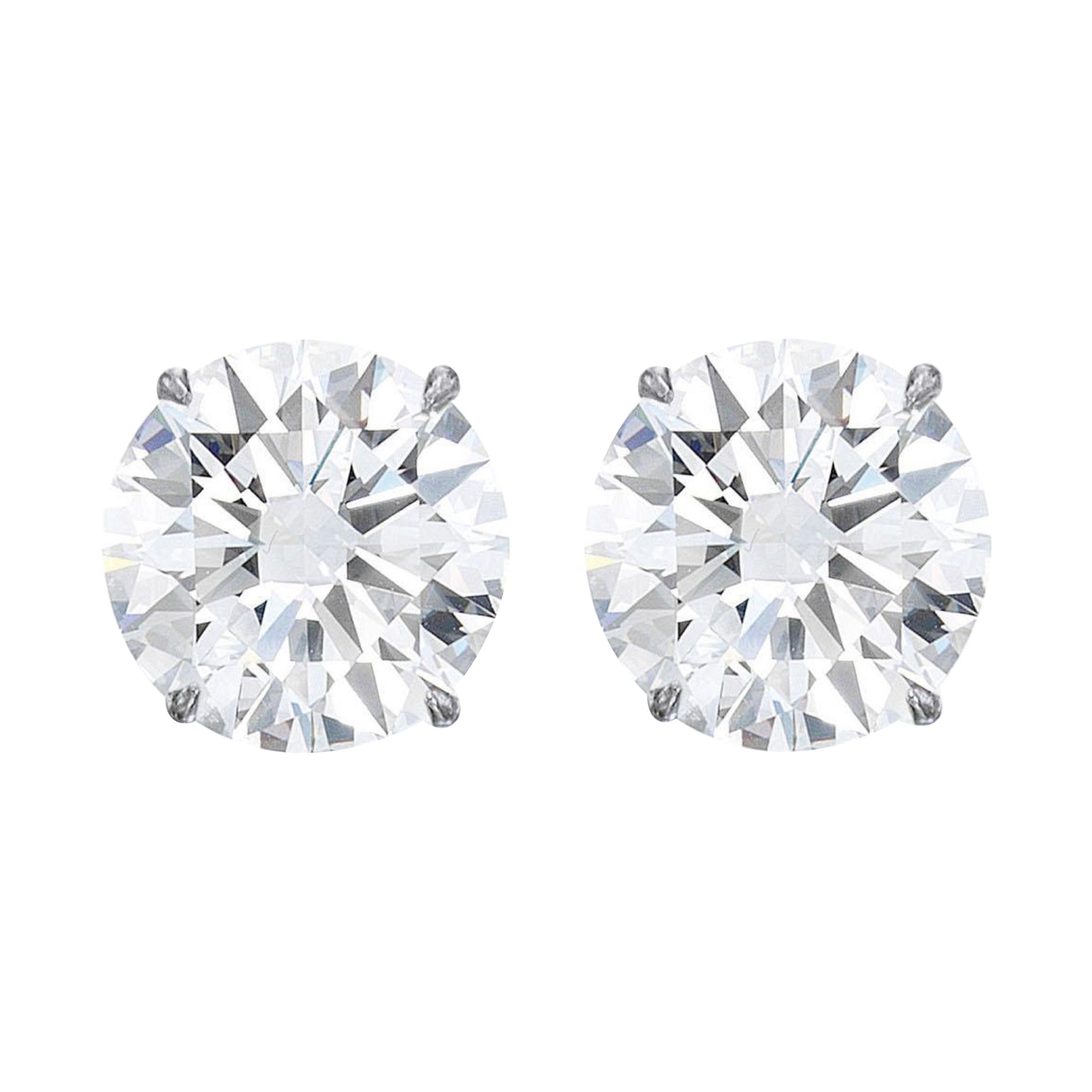 GIA Certified 4 Carat Round Brilliant Cut Diamond Studs