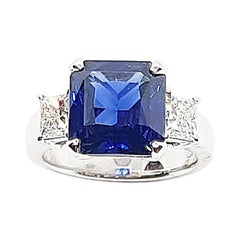 GIA Certified 4 Cts Royal Blue Sapphire with Diamond Ring in 18k White Gold