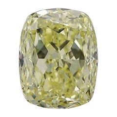 GIA Certified 4.00 Carat Fancy Yellow Cushion Diamond