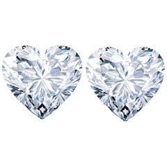 GIA Certified 4.00 Carat Heart Shape Diamond Studs D Color VS2