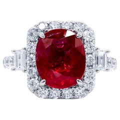 GIA Certified 4.00 Carat Ruby Diamond Ring