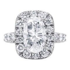 GIA Certified 4.00 Carat F-SI Diamond Engagement Ring