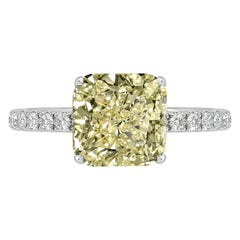 GIA Certified 4.01 Carat Cushion Cut Yellow Diamond Ring