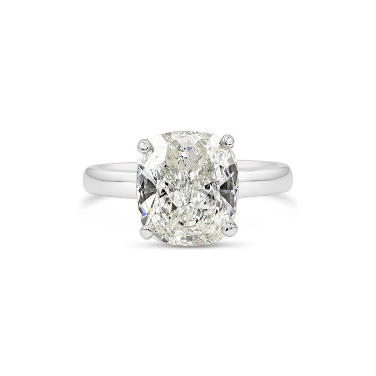 Contemporary GIA Certified 4.01 Carat Cushion Diamond Solitaire Engagement Ring For Sale