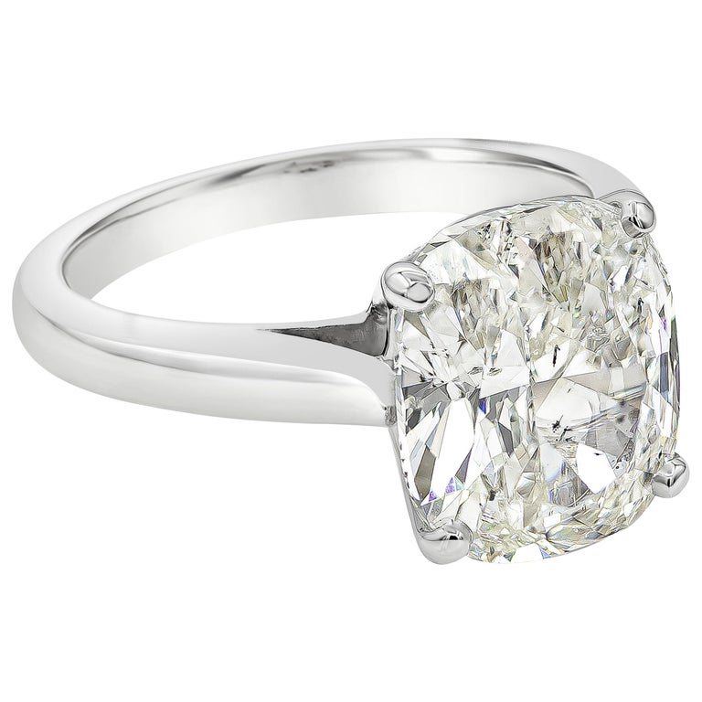 GIA Certified 4.01 Carat Cushion Diamond Solitaire Engagement Ring For Sale