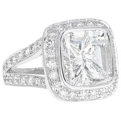 GIA Certified, 4.01 Carat Cushion Modified Brilliant Diamond Engagement Ring