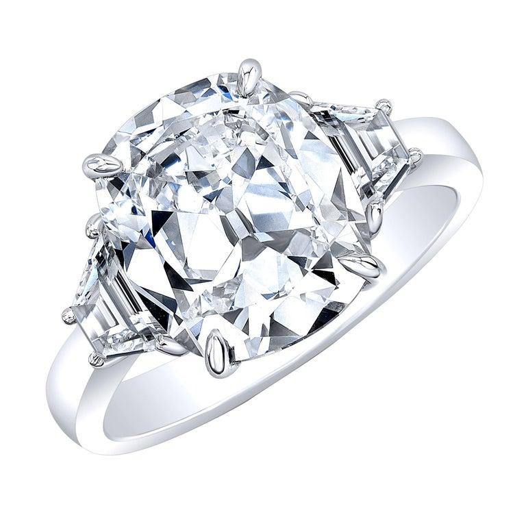 GIA Certified 4.01 Carat D VS2 Cushion Brilliant Diamond Platinum 3 Stone Ring