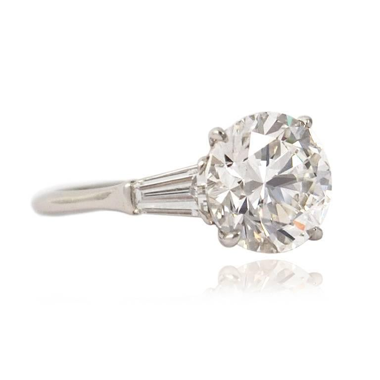 Round Cut GIA Certified 4.01 Carat E VS2 Round Brilliant Engagement Ring by J. Birnbach For Sale
