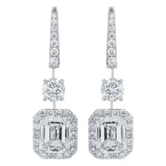 GIA Certified 4.01 Carat Emerald Cut Diamond Earrings