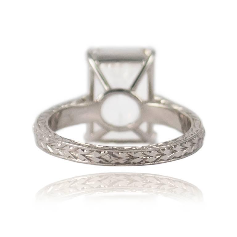 Women's or Men's GIA Certified 4.11 Carat Emerald Cut Diamond Ring For Sale