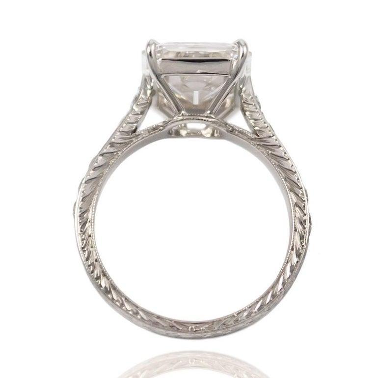GIA Certified 4.11 Carat Emerald Cut Diamond Ring For Sale 1