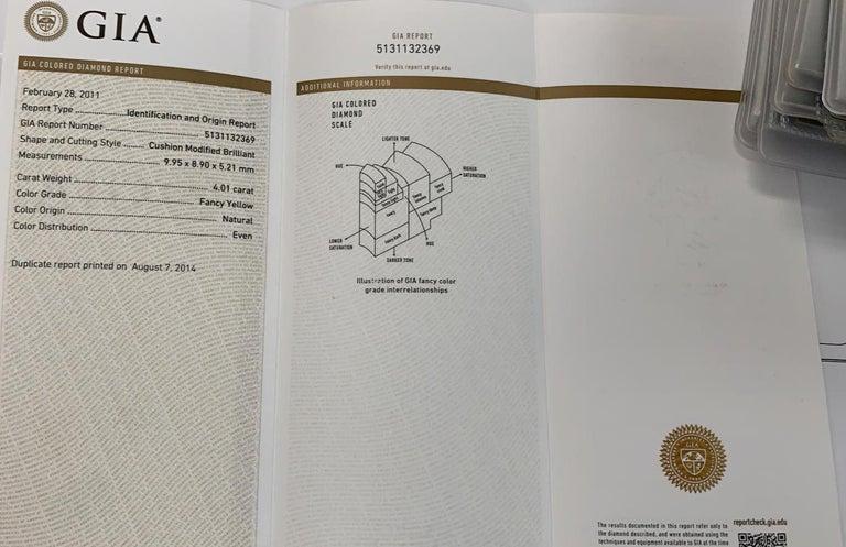 GIA Certified 4.01 Carat Fancy Yellow Cushion Cut Diamond Ring For Sale 2