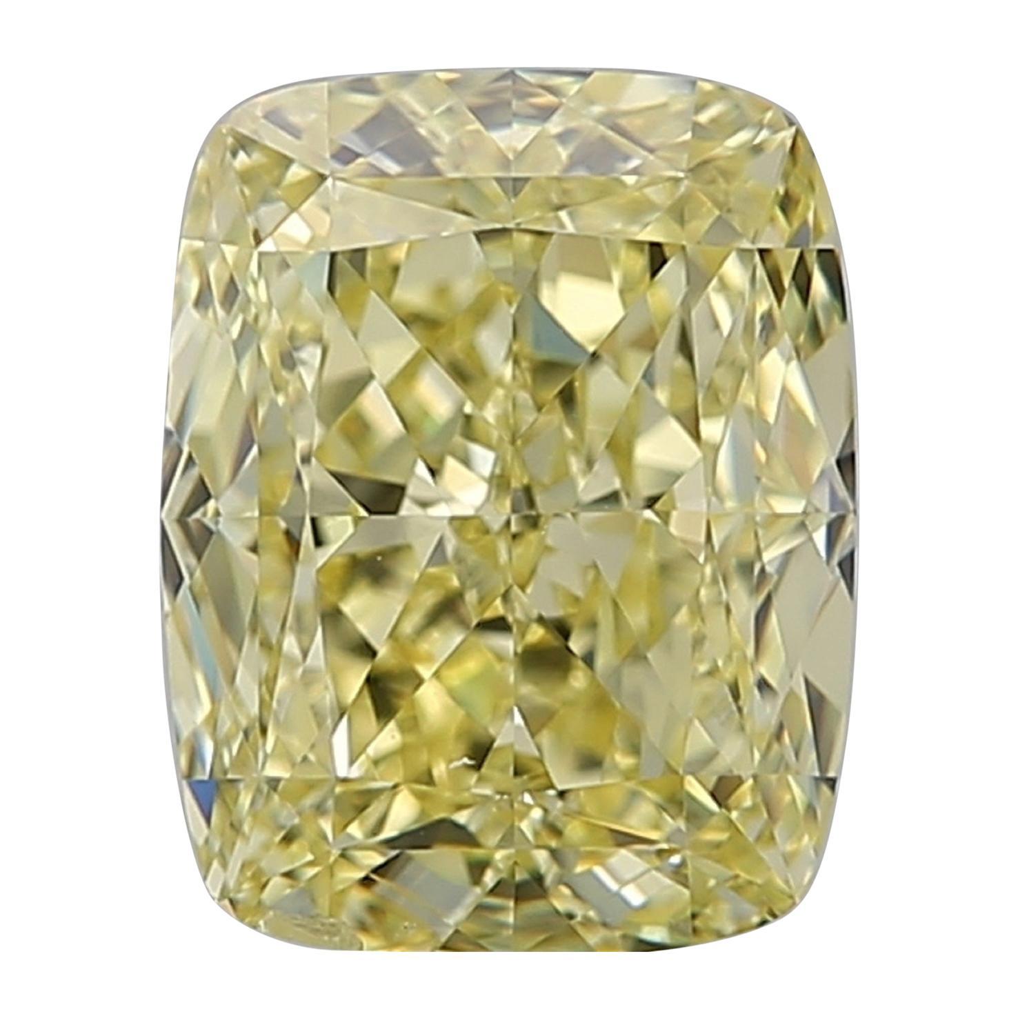 GIA Certified 4.01 Carat Fancy Yellow Cushion Diamond