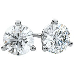 GIA Certified 4.01 Carat Ideal Excellent Cut J SI2 Diamond Studs Earrings