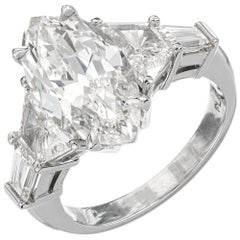 GIA Certified 4.01 Carat Marquise Diamond Three-Stone Platinum Engagement Ring