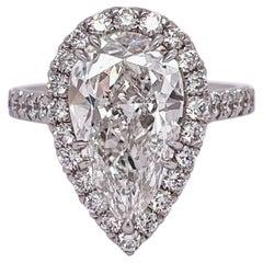 GIA Certified 4.01 Carat Pear Shape Diamond Engagement Ring, Platinum Mounting