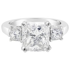 GIA Certified 4.01 Carat Radiant Cut Diamond Three-Stone Engagement Ring