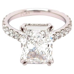 GIA Certified 4.01 Carat D VS1, Radiant Diamond Engagement Ring
