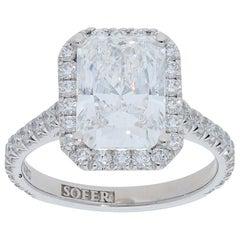 GIA Certified 4.01 Carat Radiant Diamond Halo Ring