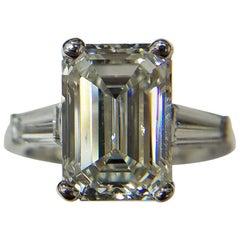 GIA Certified 4.01 Emerald Cut Diamond Ring by Louis Newman & Co