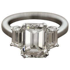 GIA Certified 4.01 Carat Emerald Cut Diamond Engagement Ring, J-VS2
