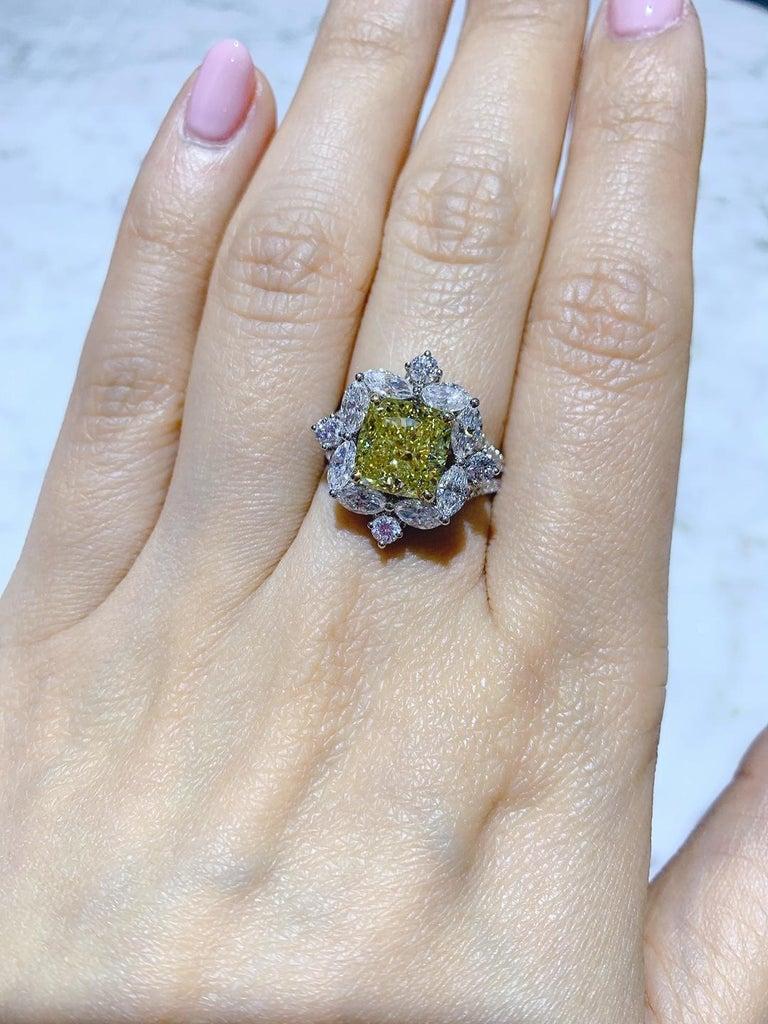GIA Certified 4.01 Carat Fancy Greenish Yellow Diamond Cushion Cut Ring For Sale 5