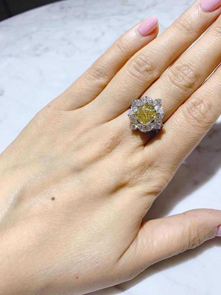 GIA Certified 4.01 Carat Fancy Greenish Yellow Diamond Cushion Cut Ring For Sale 6