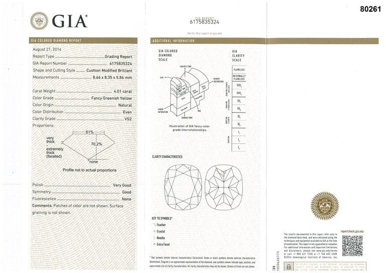 GIA Certified 4.01 Carat Fancy Greenish Yellow Diamond Cushion Cut Ring For Sale 7