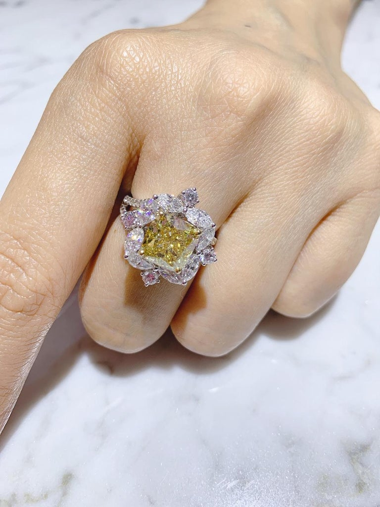 GIA Certified 4.01 Carat Fancy Greenish Yellow Diamond Cushion Cut Ring For Sale 3