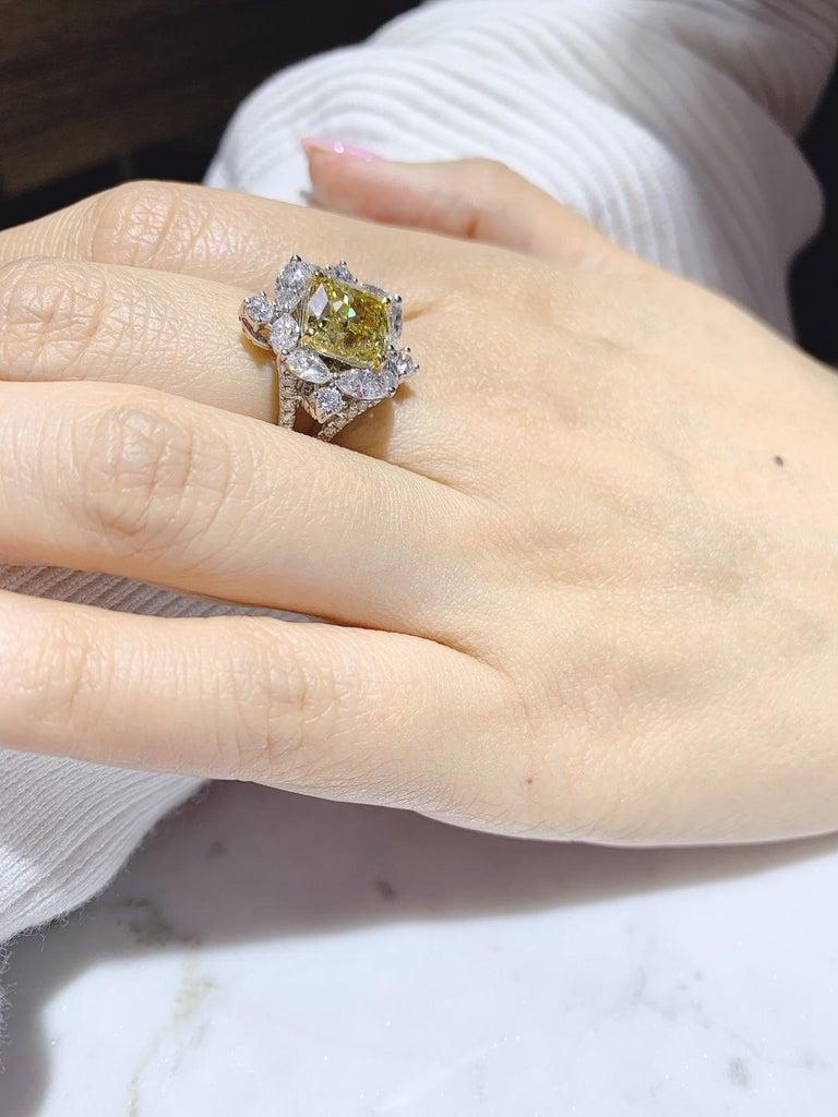 GIA Certified 4.01 Carat Fancy Greenish Yellow Diamond Cushion Cut Ring For Sale 4