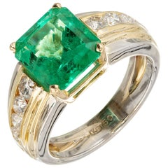 GIA Certified 4.02 Carat Colombian Emerald Diamond Yellow White Gold Ring