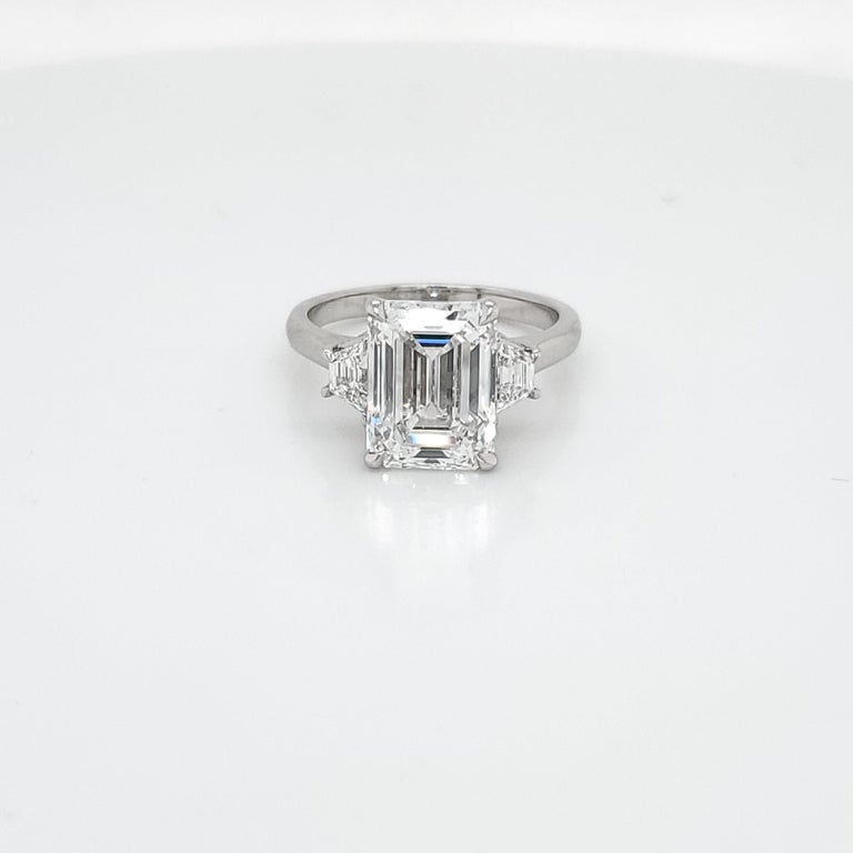 GIA Certified 4.02 Carat Emerald Cut Three-Stone Ring For Sale 1