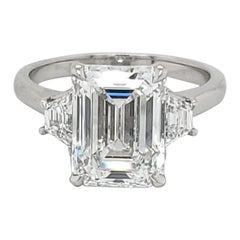 GIA Certified 4.02 Carat Emerald Cut Three-Stone Ring