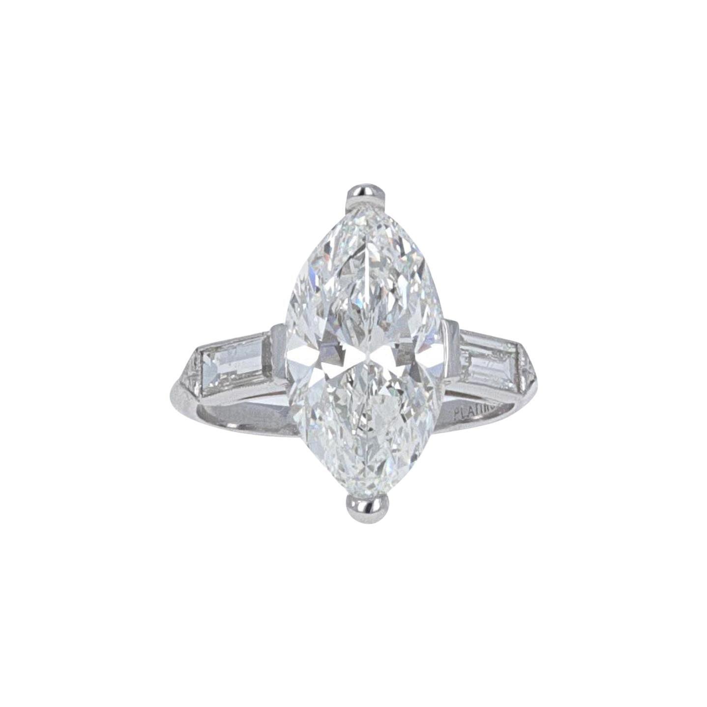 GIA Certified, Antique Cut 4.02 Carat H- VVS2 Diamond Engagement Ring
