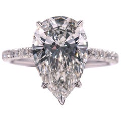 GIA Certified 4.02 Pear HSI1 EXEX Diamond Engagement Ring