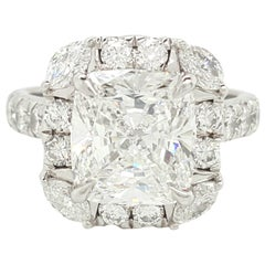 GIA Certified 4.03 Carat Cushion Cut Diamond Platinum Halo Engagement Ring