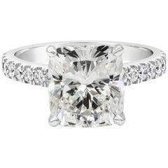 GIA Certified 4.03 Carat Cushion Diamond Platinum Engagement Ring