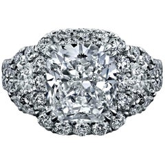 GIA Certified 4.03 Carat, Cushion Halo Diamond Ring