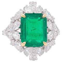 GIA Certified 4.03 Carat Emerald and Diamond Cocktail Ring